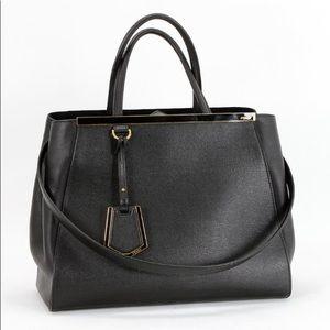 Fendi 2Jours Black Large Leather Handbag New